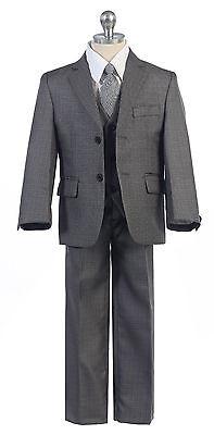 Boys Toddler Kid Teen 5-PC Wedding Formal Party Suit Tuxedo w//vest Beige sz 2-20