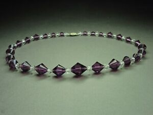 Gorgeous-Art-Deco-Czech-Bohemian-Amethyst-amp-Clear-Crystal-Glass-Bead-Necklace