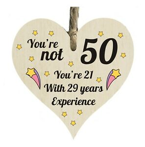 Details about 50th Birthday Dad Mum Sister Friend Quote Wooden Heart Shape  Plaque Gift htc71