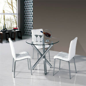 kitchen 2 4 seats dining room chrome glass round dinner table and 2 rh ebay co uk kitchen dining table and chairs kitchen dining table and chairs small
