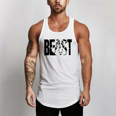 Men/'s Gym High Quality Breathable Undershirts Training Workout Muscle Tank Tops
