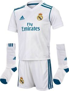 big sale 02429 d0ae9 Details about Real Madrid Kit Home Kit 100% Official Adidas Shirt Shorts &  Socks 2017-18 White