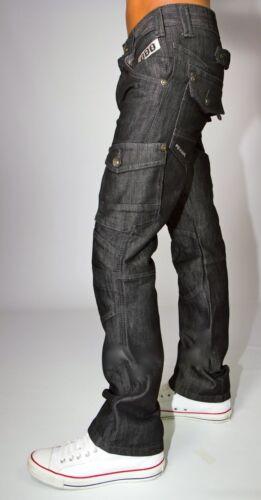 Hommes Peviani Noir Combat Jeans Cargo Droit Ajusté Club Étoile Lavage Pantalon