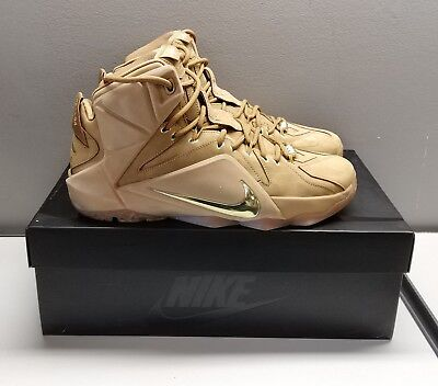 6f3a9c04fcf9 Lebron XII EXT QS 744287 700 Wheat   Gold Men s Basketball Sneakers Size 10