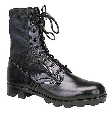 "Rothco 5081 Black Leather Military G.I. Style 8"" Jungle Boots, Mens Sizes 8-12"