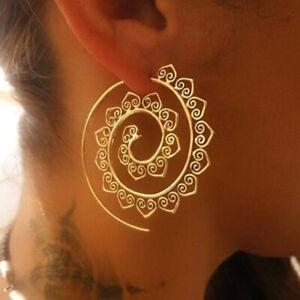 Mode-Frauen-Vintage-Spirale-Herz-Geformt-Baumeln-Ohrringe-Gold-Charm-Einzigar-VG