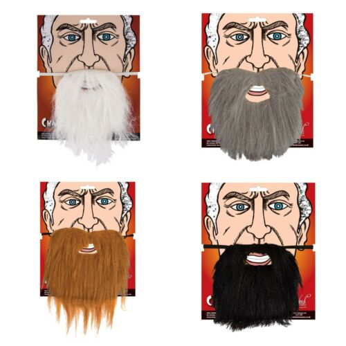 FANCY DRESS ELASTICATED BEARDS BLACK BROWN GREY NATIVITY FACIAL HAIR FAKE ADULT