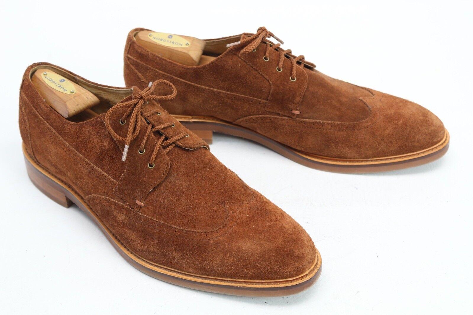 Joseph Abboud Herren Kleid Schuhe 11.5 Braunes Wildleder Wingtip Blücher Gummi