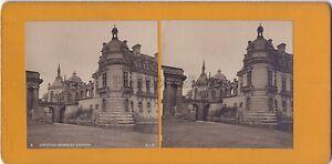 Chantilly Façade Del Château Foto Stereo Stereoview Vintage Analogica