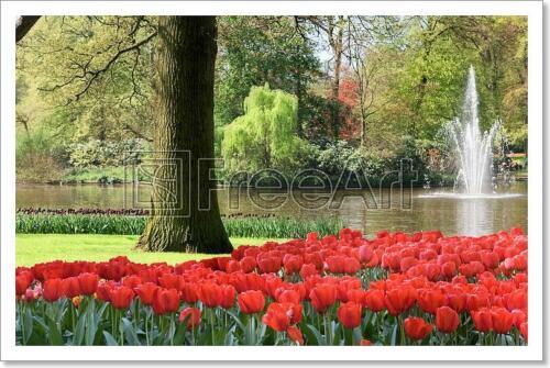Spring Garden Art Print // Canvas Print C Poster Home Decor Wall Art