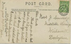 """GB VILLAGE POSTMARKS """"HARBERTON"""" (Devonshire) Thimble 20mm 1912 clear on poor pc"""