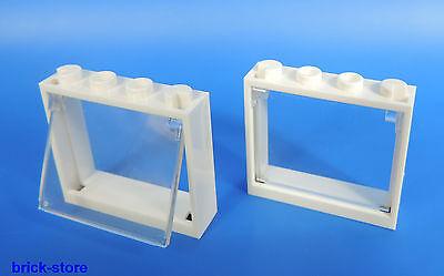 mit glaseinsatz transparent klar 6 Stück LEGO® Fenster  1x4x3 Rahmen schwarz