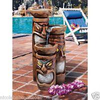 3 Tier Totem Poles Tiki Scultpure Water Fall Tropical Garden Beach Patio Decor