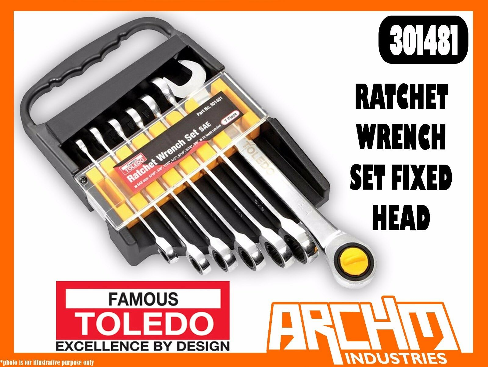 TOLEDO 301481 - RATCHET WRENCH SET FIXED HEAD - SAE 7 PC. (5 16 -3 4 ) RING OPEN