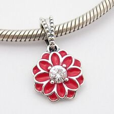 RED ORIENTAL FLOWER DANGLE CHARM Bead Sterling Silver.925 4 European Bracelet578