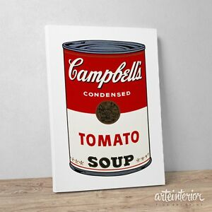 Stampa-su-tela-Canvas-ANDY-WARHOL-Campbell-039-s-Soup-Design-Quadro-Idea-Regalo