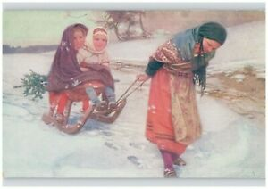 Wooden-Snow-Sled-Pulled-by-Mother-w-Tree-amp-Kids-Postcard-Joy-Douba-Signed