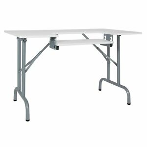 Studio Designs Folding Multipurpose Sewing & Craft Table w/ Machine Shelf, White