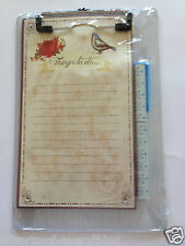 Notes to Do on Clipboard Clip Board Blue stripe with Birds Memo Pad & Pen