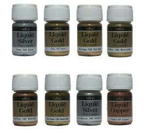 Vallejo Liquide Métaux Or Argent Cuivre Modèle Peinture Choisissez Tout 8 X 35ml