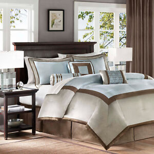 Details about NEW Deluxe Hotel Blue Taupe Brown Comforter 7 pcs Bedding Set  Cal King Queen