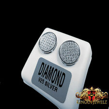 REAL DIAMOND MENS LADIES CIRCLE DESIGNER 14K WHITE GOLD FINISH STUD EARRINGS
