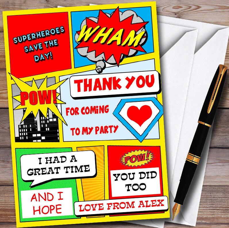 GIALLO dei supereroi fumetti Personalizzati Per Per Per Bambini Festa Di Compleanno Ringraziamenti 754e60