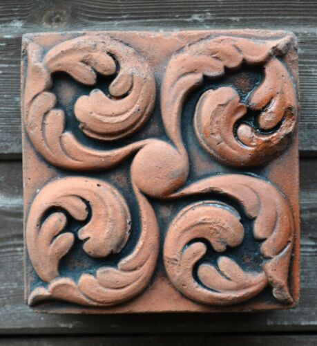 """Victorian decorative brick copy antiqued terracotta wall tile /""""Curled leaves/"""""""