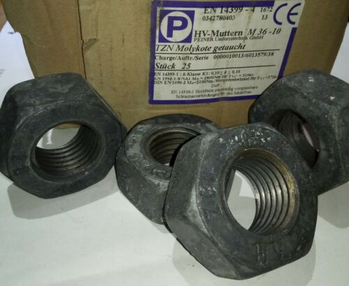 Peiner Sechskantmutter M36-10 EN14399 HV TZN Feuerverzinkt Molykote Stahlbau