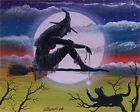 Folk Art Halloween WITCH Cat Broom Magick String  Fantasy PRINT Byrum