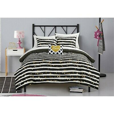 Gold Black White Comforter Set Sheet Love Design S 5pc Bedding Twin Ebay