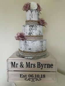 Details about Personalised Rustic Vintage Wedding Cake Stand Wooden Crate  Cake Stand Whitewash