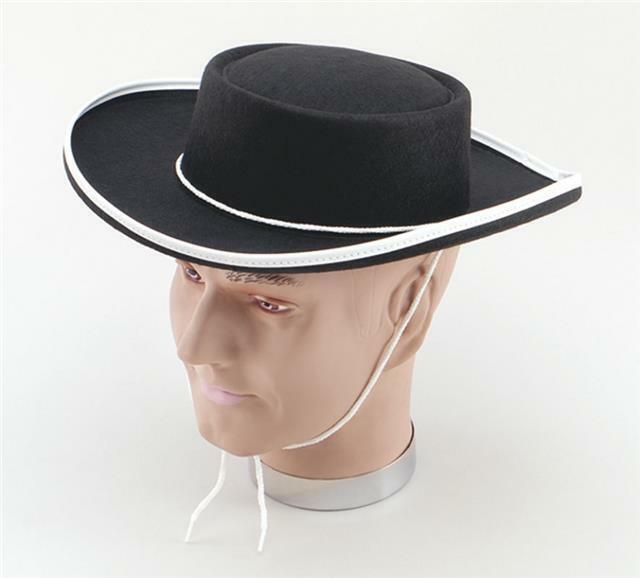 Adult Bandit Felt Black Hat Fancy Dress Zorro Costume Accessory