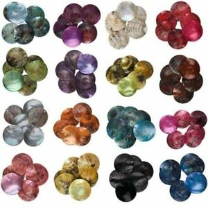 Lot-of-50-Iridescent-Mussel-Shell-Flat-Round-Coin-Drop-Charm-Thin-Disc-Beads