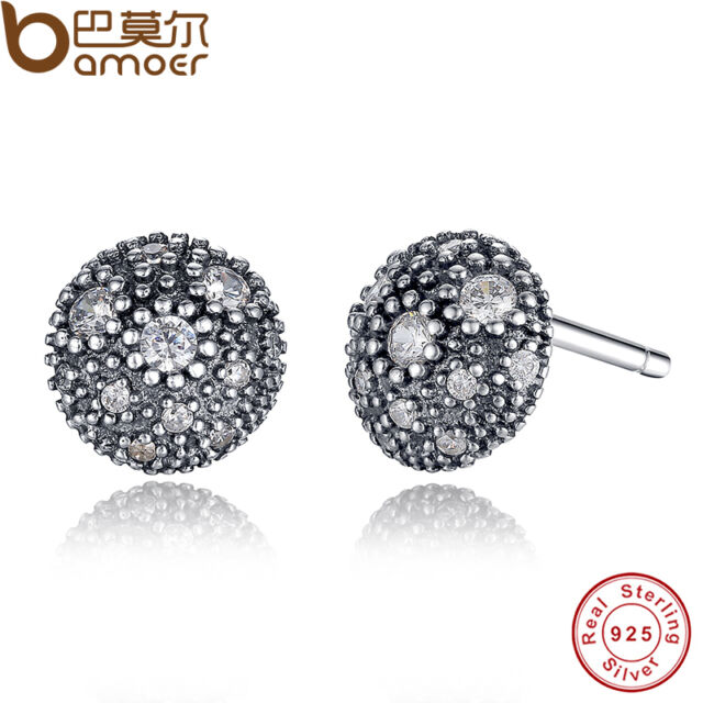 Shining Authentic S925 Sterling Silver Cosmic Stars Stud Earrings With Clear CZ