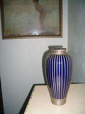 "Japanese Awaji  Art Deco Vase -w- Silver Basket Weave Overlay 12"" 1880-1930"