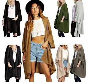 New-Ladies-Girls-Knitted-Oversized-Pocket-Baggy-Jumper-Cardigan-Cape-Top-UK-8-24