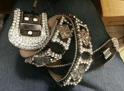 BB Simon Black Leather Western Rhinestone Womens L