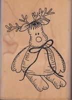 Reindeer Angel's Attic Wood Mounted Rubber Stamp 2 1/2 X 3 1/2 Free Shipping