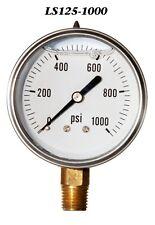 New Hydraulic Liquid Filled Pressure Gauge 0 1000 Psi 25 Face 14 Lm