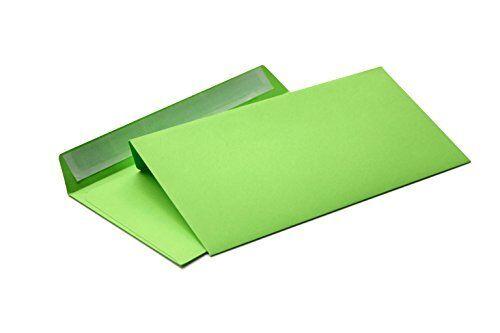 Briefumschläge grün DIN lang ohne Fenster 114 x 229 mm  haftklebend 208A