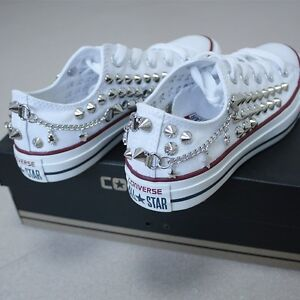 9e1b778a819b Genuine CONVERSE All-star row-top with studs chain skulls Sneakers ...