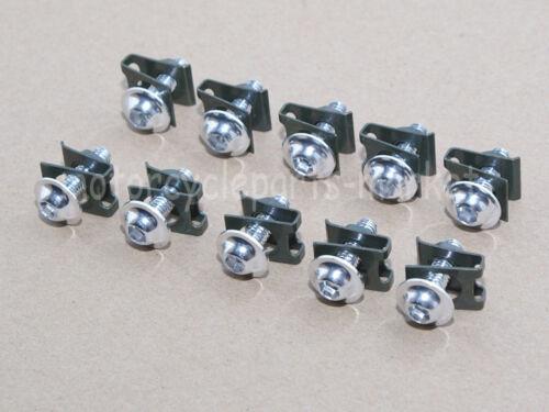 Silver 10 x M6 6mm Aluminum Fairing Bolts Kit Body Fastener Clip Screw Sportbike