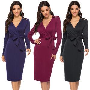 Ladies-Long-Sleeve-Deep-V-Neck-Bodycon-Belt-Dress-Sexy-Women-Midi-Dresses-Spring