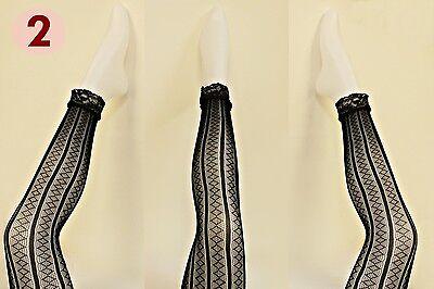 Sexy Netz Leggings schwarz - mit / ohne Spitze , Disco Party Gothic Leggins NEU