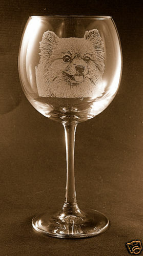 Set of 2 Etched Pomeranian on Elegant Wine Glasses New