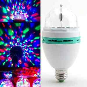 2x Crystal Ball Stage Lights Led E27 RGB Rotating Lamp For Party Disco DJ Bar