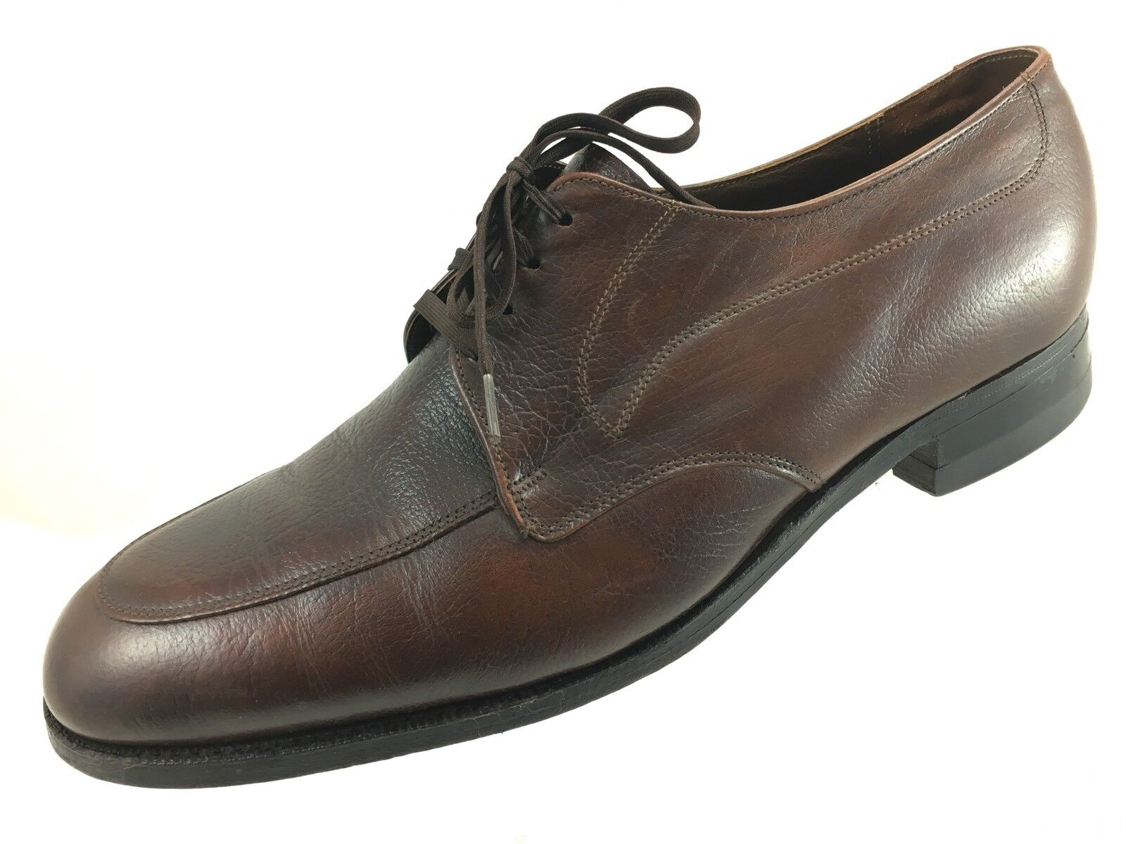 SH1 Vtg Florsheim 9.5D Brown Leather Apron Toe Derby Oxford Dress shoes