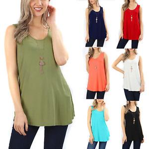 Sleeveless Flowy Tank Top Soft Knit Tunic Women Scoop Neck Loose Fit Blouse Long