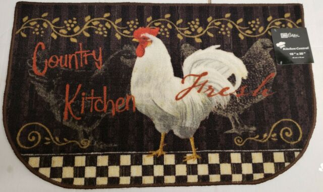 French Country Style Rooster Sunflower Round Kitchen Rug W